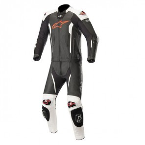 MISSILE LEATHER SUIT 2 PC -TECH AIR COMP Black/White/Red Fluo